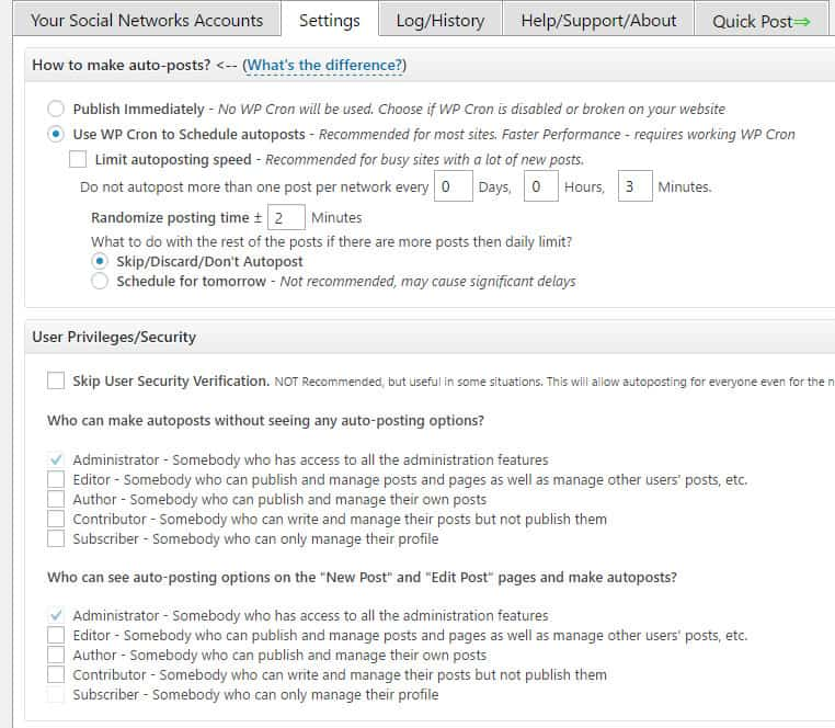 autoposting WordPress posts to social sharing sites