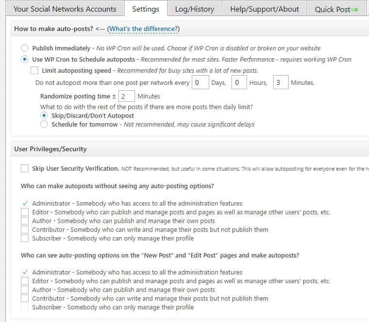 autoposting WordPress posts to social sharing sites