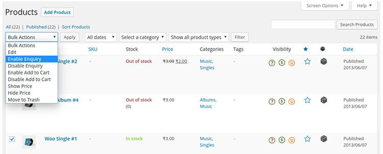 display enquiry and purchase buttons in woocommerce