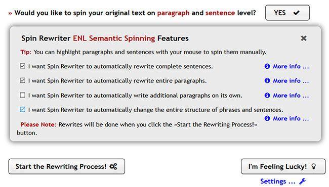 WordPress content spinner tool