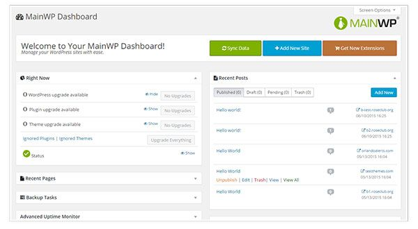 manage client sites from one dashboard