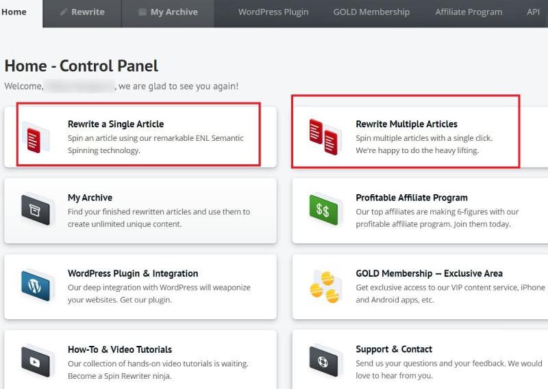 Spin Rewriter rewrite multiple articles-