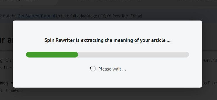 Spin Rewriter progress bark while content is rewritten.