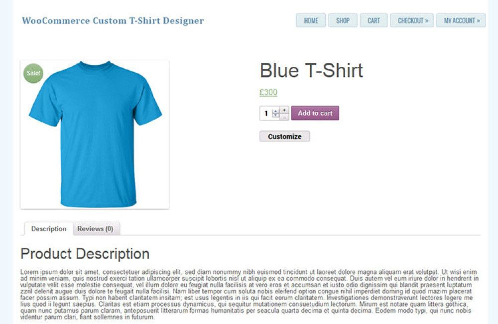 Woccommerce t-shirt designer plugin