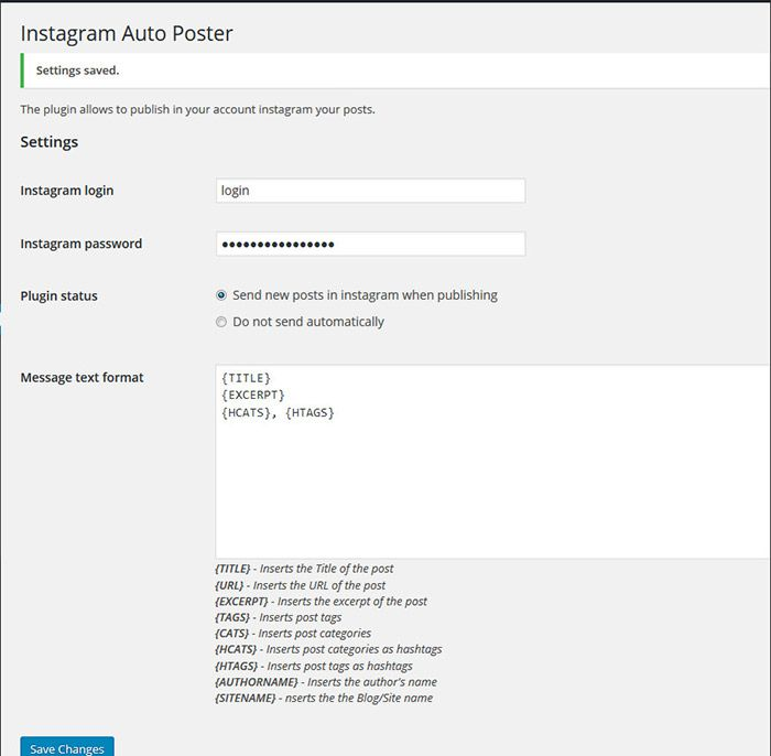 how to post from WordPress to instagram plugin