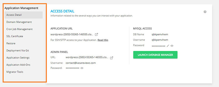 aplication management tab cloudways hosting