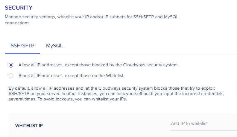 Cloudways security settings.