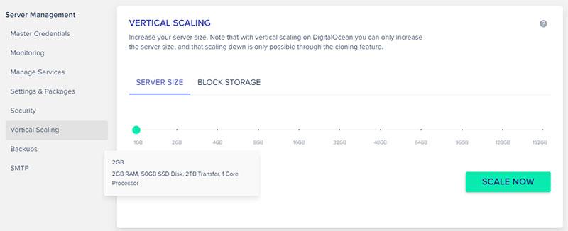 hosting vertical scalling
