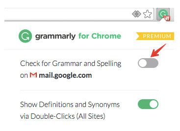 how to disable grammarly extension