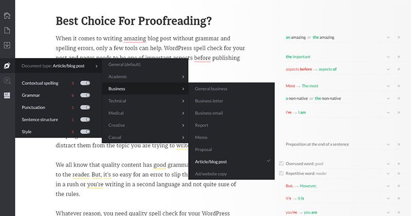 wordpress proofreading
