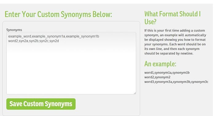 WordAi custom synonyms