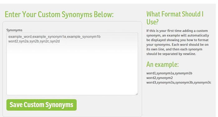 WordAi custom synonyms