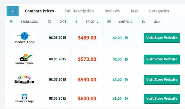price comparison wordpress