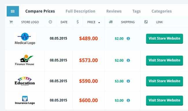price comparison wordpress