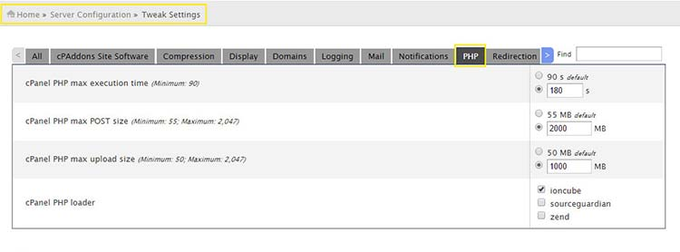 Increasing upload_max_filesize in WHM