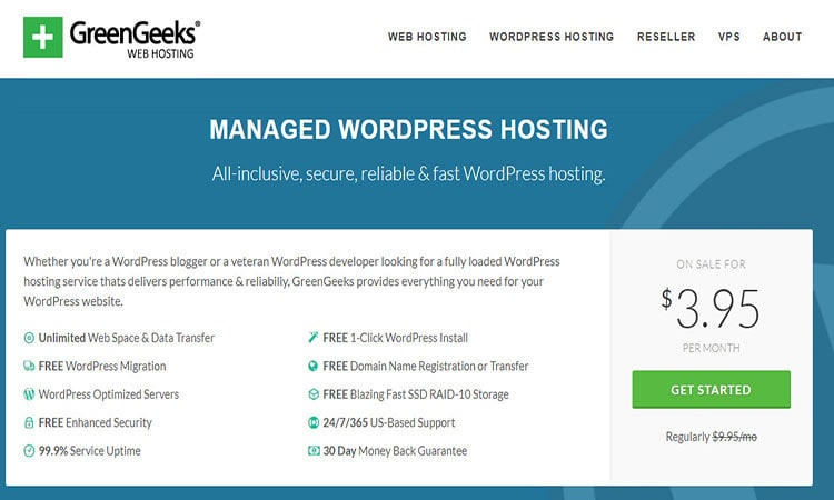 greengeeks WordPress hosting price