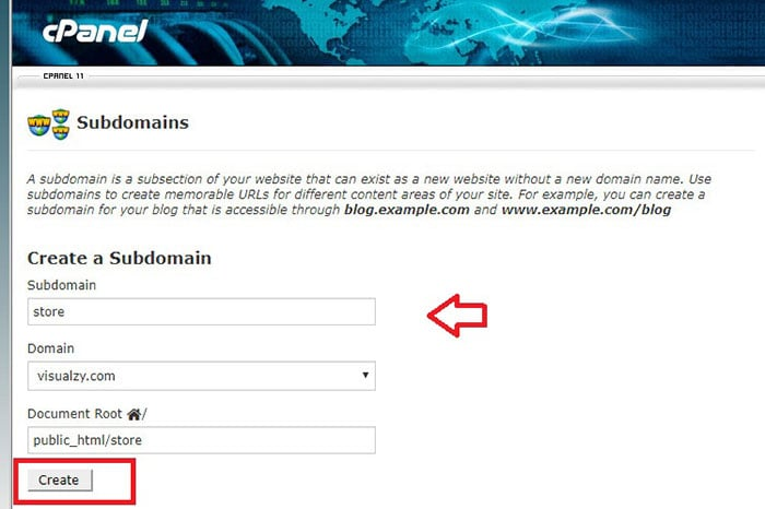 how to create wordpress subdomain