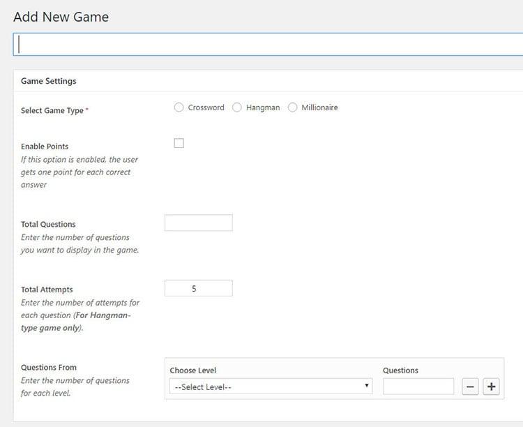 gaming plugin for WordPress website