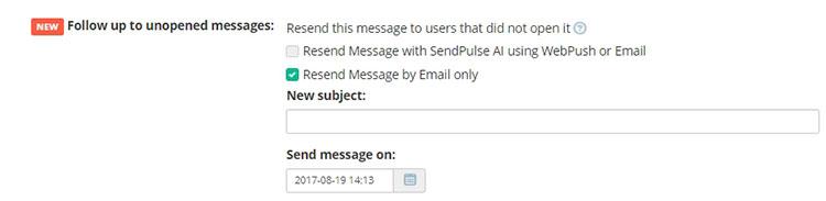 sendpulse Resend to unreads feature