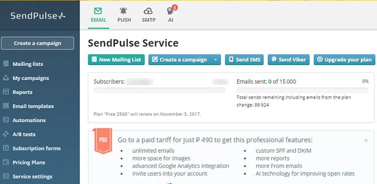 sendpulse push notification service review