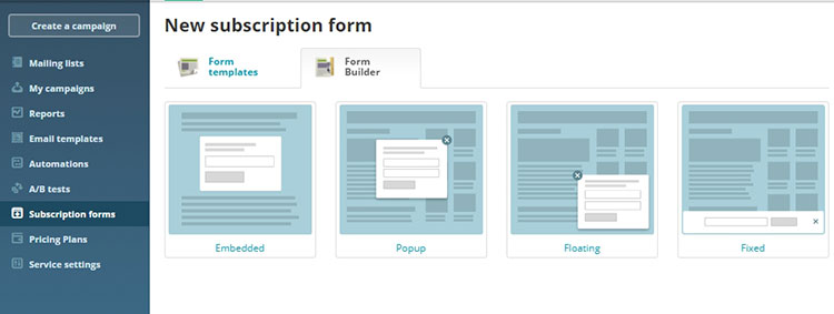 sendpulse subscription forms