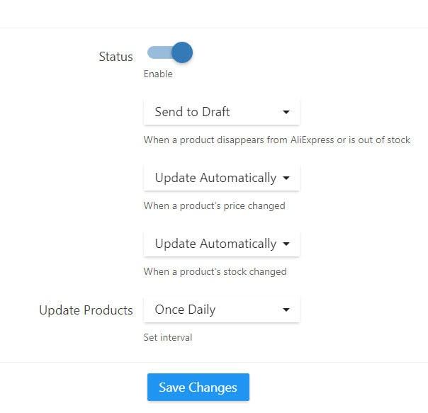 alidropship auto updates settings