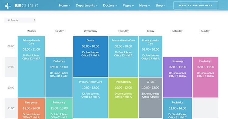 beclinic theme timetable