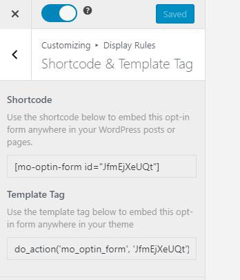 embed shortcode mailoptin