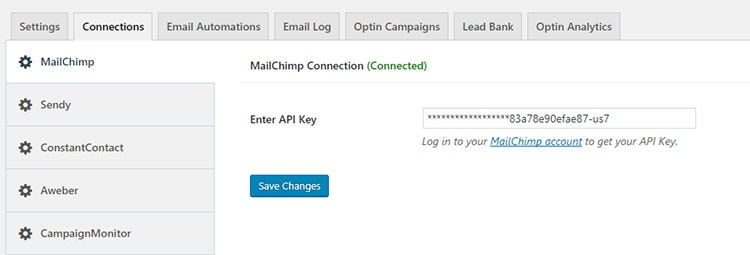 mailoptin mailchimp connection