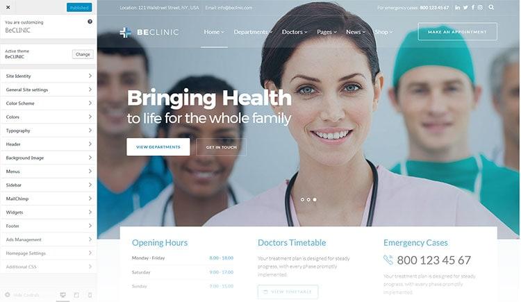 premium medical clinic wordpress theme