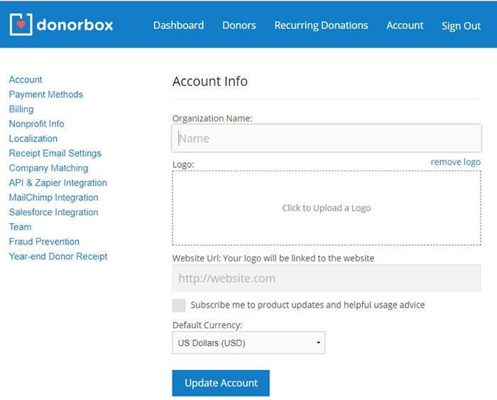 donorbox plugin settings