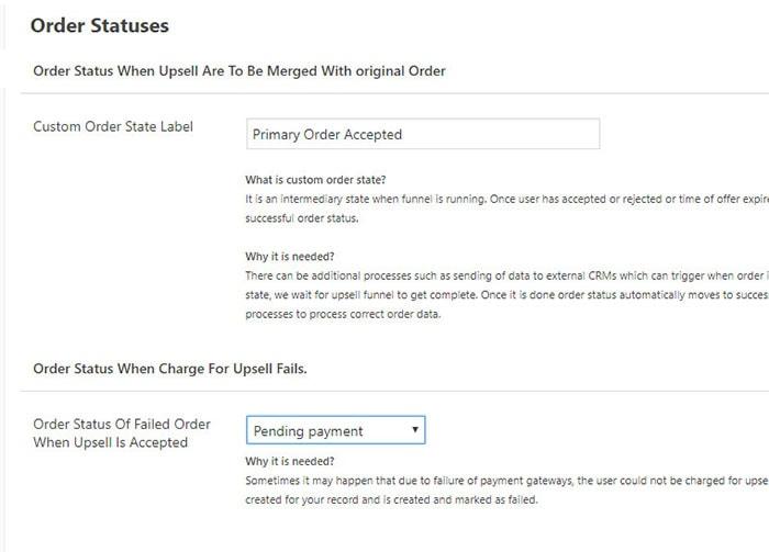 woofunnels upstroke order statuses setting