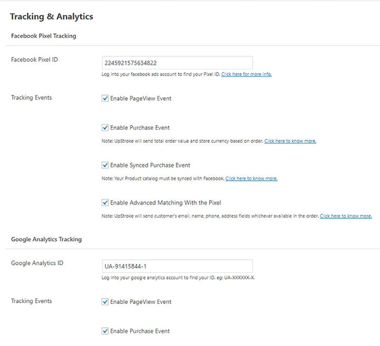 woofunnels upstroke tracking and analytics setting