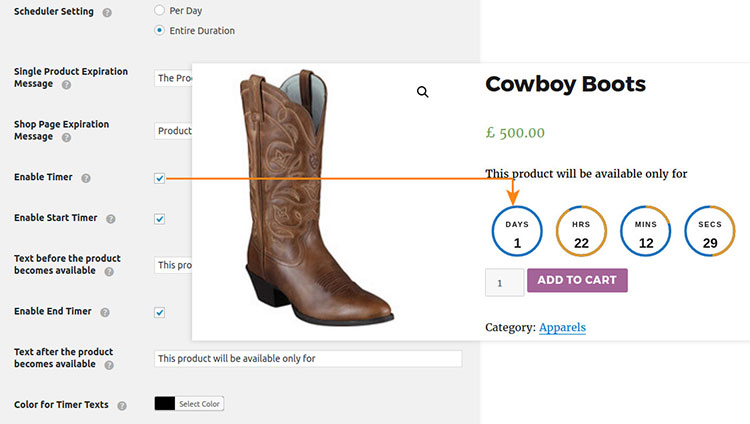 product availability timer woocommerce