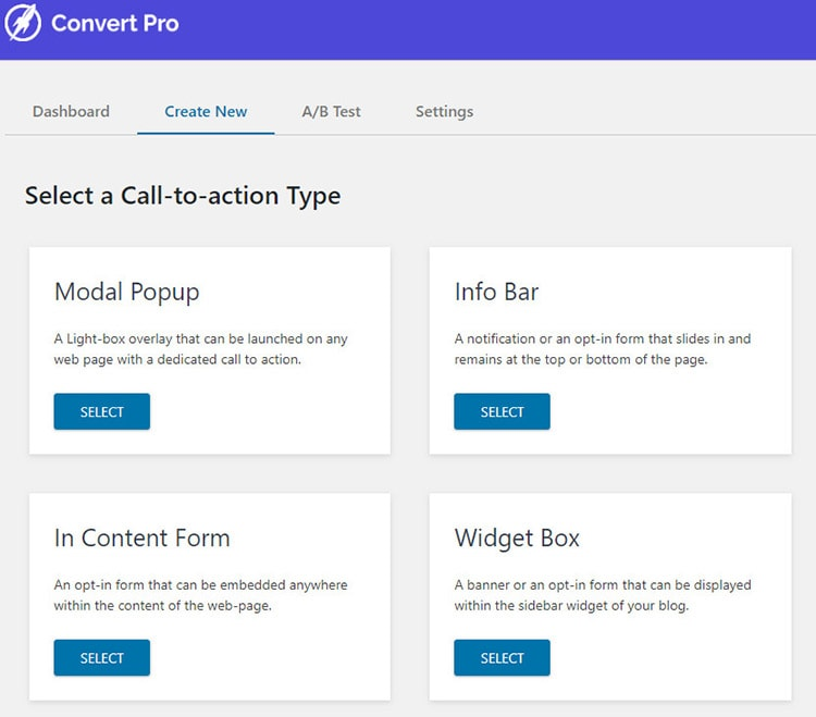 convert pro call to action types