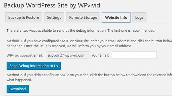 Backup WordPress Site by WPvivid features