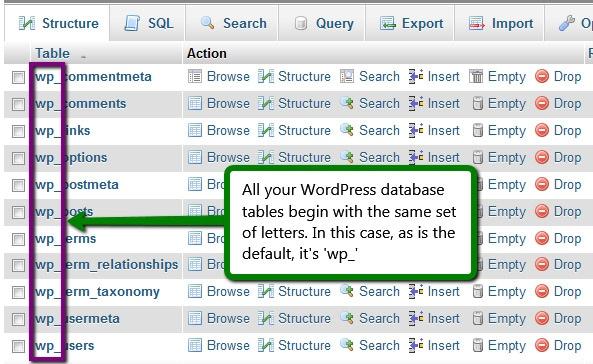 change wordpress database prefix