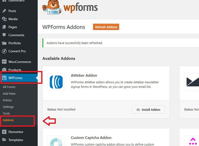 wp forms conversational addon install