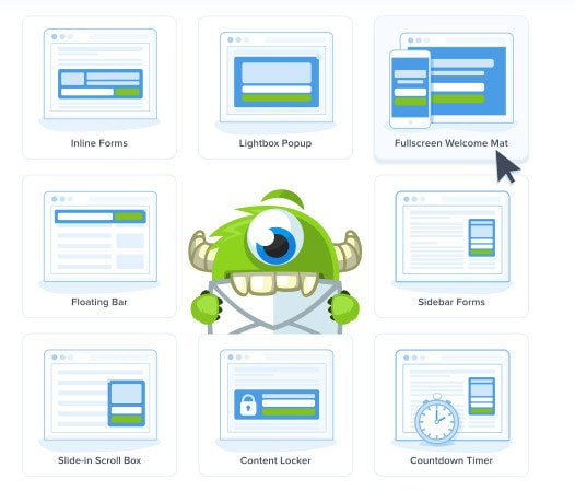 optinmonster optin form types
