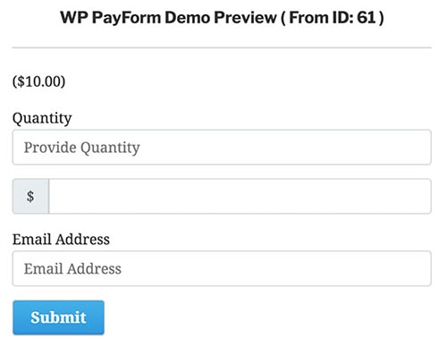 wp payform demo preview