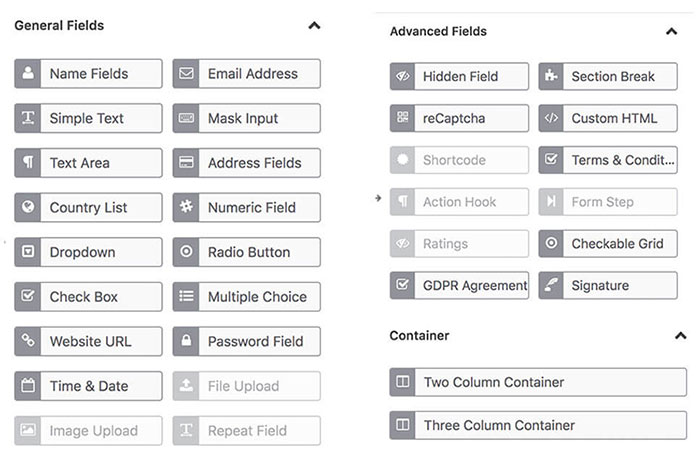 general and advanced input fileds