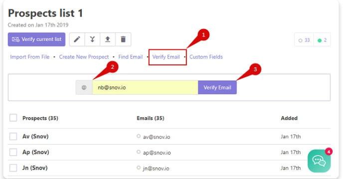 verify emails using snovio