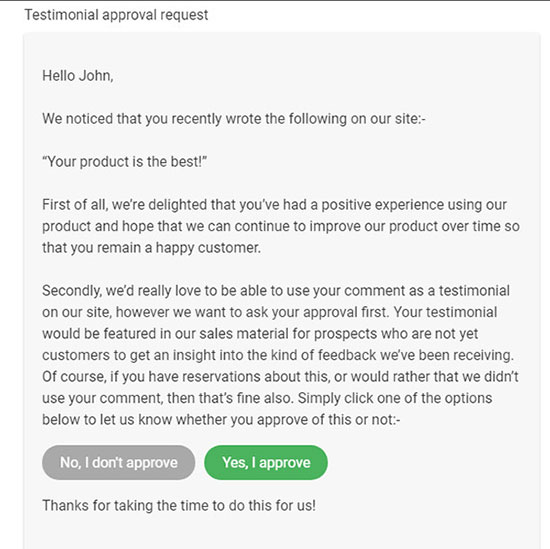 Testimonial approval request
