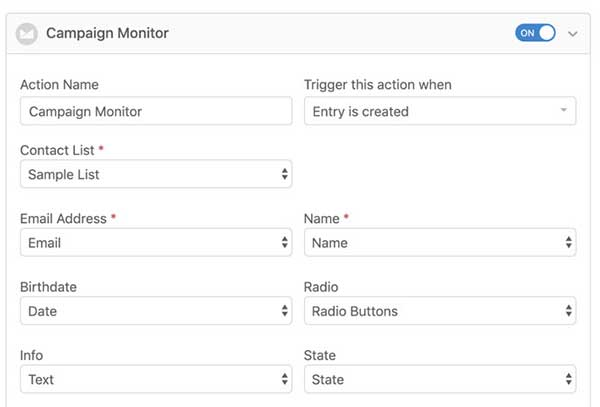 campaign monitor formidable forms addon
