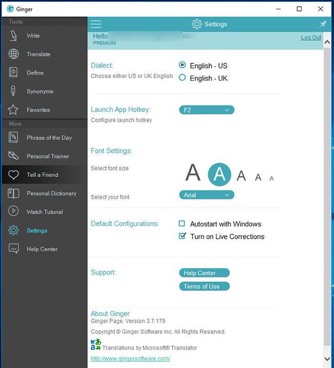 ginger page desktop settings