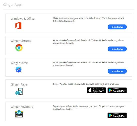 ginger software apps