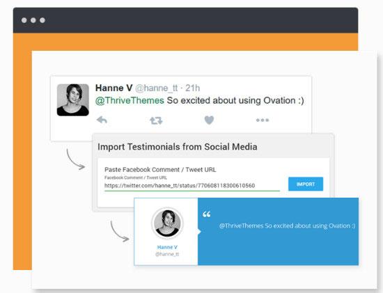 import testimonials from social media accounts