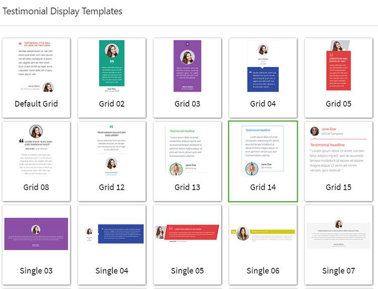 testimonial display templates