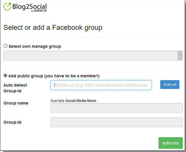 wordpress auto-post to facebook group