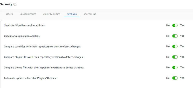10web security scan settings